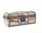 English Brass Studded Leather Travel Trunk