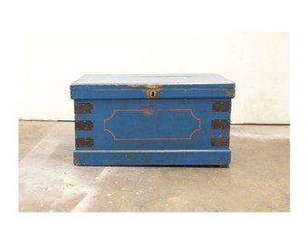 Vintage English Blue Painted Wooden Trunk