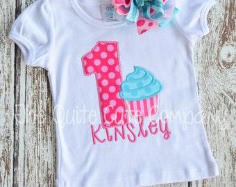 Applique Birthday Cupcake Shirt- Birthday Number, Cupcake, and Name!