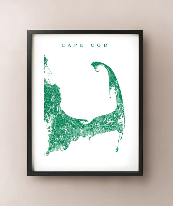 Cape Cod Map, Massachusetts Art Poster Print