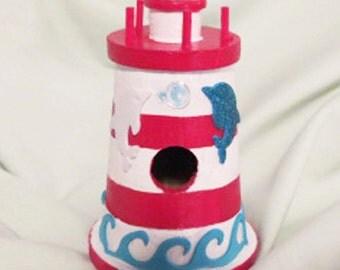 Mini Striped Lighthouse Birdhouse