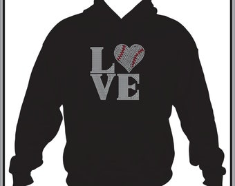 Rhinestone Baseball/ Baseball Sweatshirt/ Baseball Mom Sweatshirt/ Love Baseball Heart Hoodie Sweatshirt/ Baseball Sister Shirt