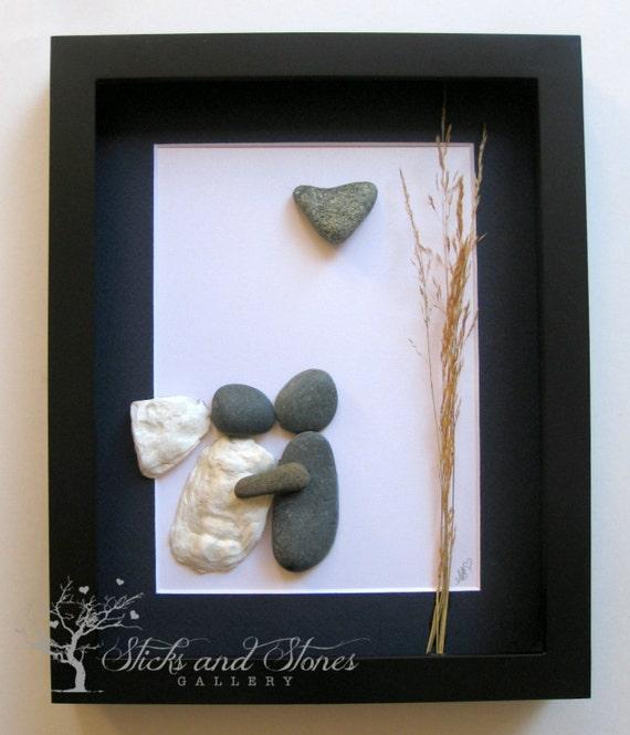 Pebble Art Wedding Gift : Wedding Art -Personalized Pebble Art -Wedding GiftCustom Engagement ...