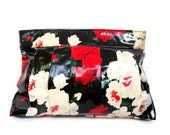 Vintage floral cosmetic pouch, red and black clutch, retro toiletry pouch, travel cosmetic purse, red make up bag, rose travel clutch