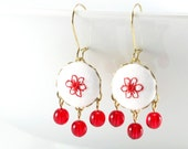Dangle Earrings - Red Floral - Embroidered Red Flowers on White - Fresh Fabric Covered Buttons Earrings with Czech Glass Beads