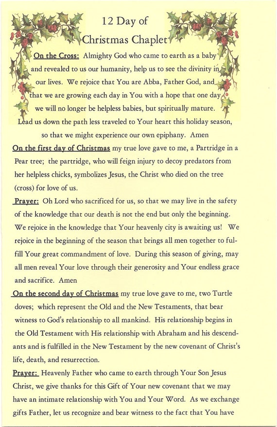 The Twelve Days Of Christmas Chaplet Giving The Christian