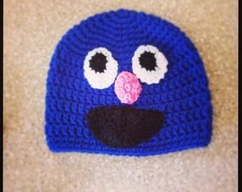 Crochet Grover Hat -  Sesame Street Puppet Hat - Kids Halloween Costume - Baby Halloween Costume