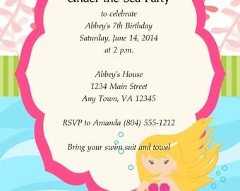 Custom Mermaid Birthday Invitation