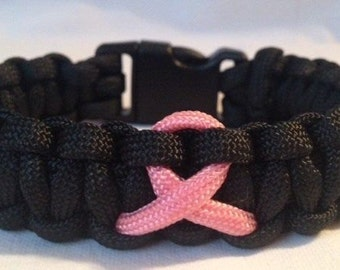 SALE! Breast Cancer Awareness Paracord Survival Bracelet   -  Black with Pink BCA Ribbon (See description for size suggestion)