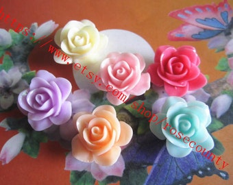 100pcs 20mm assorted( 6 colors) resin rose flower Cabochons/cameos spacer beads findings--string holes included