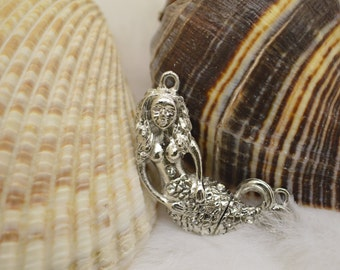 Mermaid Magnetic Clasp, (M13S)Original Design: Silver plated with rhinestones, Ocean lover must see!!