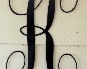 "22 inch Black Script Metal Letter ""K"" Door or Wall Hanging"