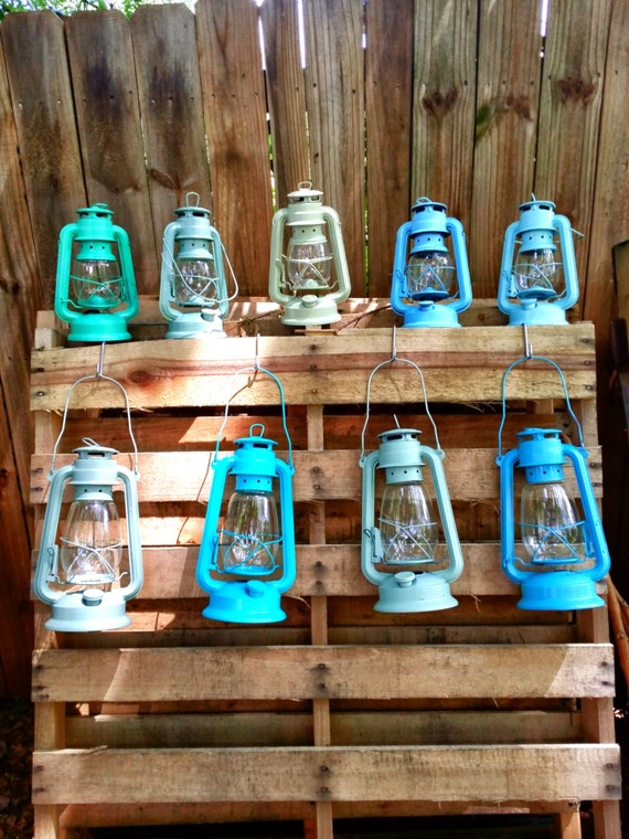Railroad lantern large w led tealight rustic by