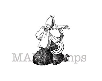 Alice in Wonderland chess pawn reading newspaper rubber stamp / Unmounted rubber stamp (140803)