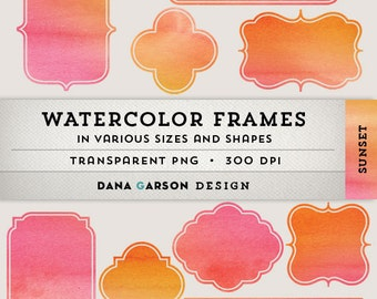 Watercolor Digital Frames in Pink/Orange for blog graphics, scrapbooking, digital collage, clip art, ClipArt, printable, commercial use