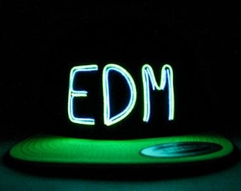 Light Up EDM Hat made with 2 El Wires - chose the colors blue, green, orange, yellow, pink, purple, white
