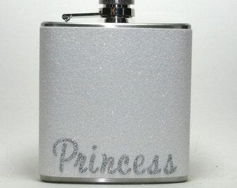 Princess Sparkly White & Silver Glitter 6 oz Size Liquor Hip Flask Flasks Weddings Bridesmaids Gift Idea