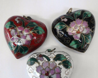 Cloisonne puffed heart pendant  50mm  3 pcs / pack
