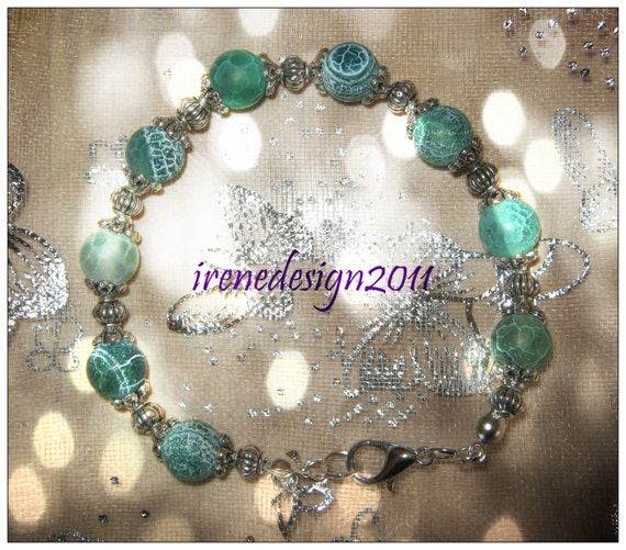 Handmade Silver Bracelet with Green Frosted Vein Agate by IreneDesign2011
