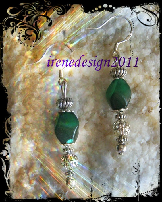 Handmade Silver Hook Earrings with Shaped Green Cat Eye by IreneDesign2011