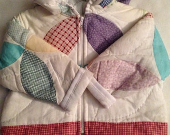 I1  handmade girls size 12-24 months   quilted jacket