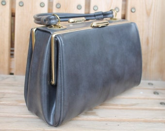 40's 50s Gray Leather Lady's Clutch Hand Bag Purse