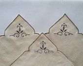 Set of 3 embroidered dessert or tea serviettes, elegant fine embroidery napkins with trimmed borders