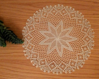 Large crochet doily, lace centerpiece, ecru doily, round doily, lace table topper 14.5 inches, hand crocheted lace placemat