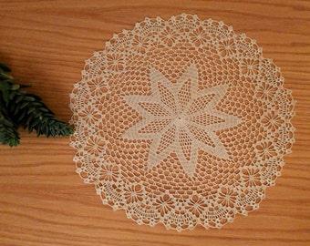 Large crochet doily, lace centerpiece, ecru doily, round doily, lace table topper, 15 inch hand crocheted lace placemat, dreamcatcher doily