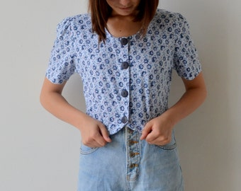 SALE: 90's Floral Cropped Top