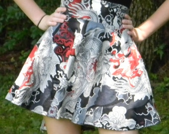 High Waist Chinese Dragons Circle Skirt (Custom Size)