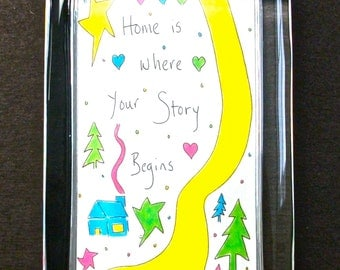 "Glass Paperweight Quote ""Home Is Where Your Story Begins"" Life Journey Inspires Graduation New Baby Congratulations Friendship Office Gift"