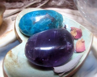 Amethyst Healing Crystal, Chrysocolla, Anxiety Relief, Stress, Worry, Fears, Boosts Confidence, High Spiritual Vibration
