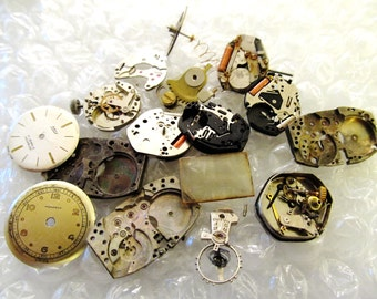 50% OFF! 20 Grams Steampunk Watch Parts, Watch Movements, Dials, Stems, Wheels, Crystal, Cases, Watch Parts, Steam Punk Art Jewelry 3A178