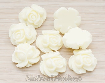 CBC214-01-IV // Ivory Colored Full Bloom Rose Flower Flat Back Cabochon, 4 Pc