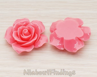 CBC157-07-DP // Dark Pink Colored 35mm Angelique Rose Flower Flat Back Cabochon, 2 Pc