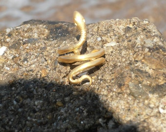 Snake ring '' Ofis '' handmade sterling silver 925 gold-plated
