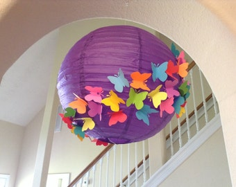 "14"" purple rainbow, paper lantern, butterfly lantern, butterfly wedding,wedding lantern, rainbow party, rainbow decor, butterfly decor,"