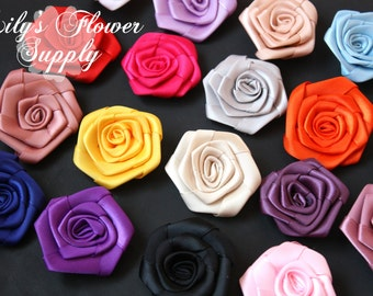 Flat Rolled Rosettes - Wholesale - 2 inch - Satin Flower - Satin Rosette -Fabric Flower - Rolled Rosettes - Choose your Colors