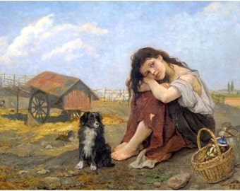 "Girl with Dog, Tutarlaps-Koeraga, Eugenie Bandell, 1863, Girl, German, Canine 8x10"" Cotton Canvas Print"