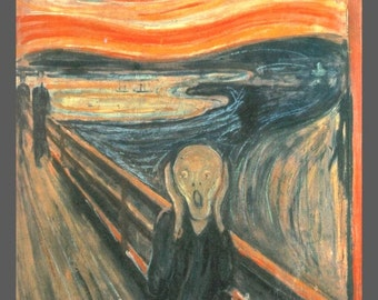 "11x14"" Cotton Canvas Print, Edvard Munch, The Scream of Nature, 1893, Orange Sky, Landscape"
