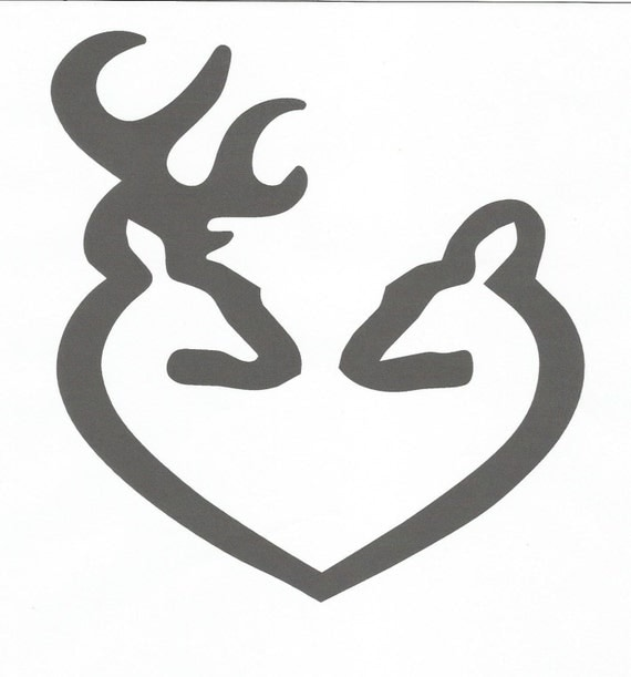 Deer Buck And Doe Heart Inspired By Browning Vinyl Decal - Browning vinyl decals