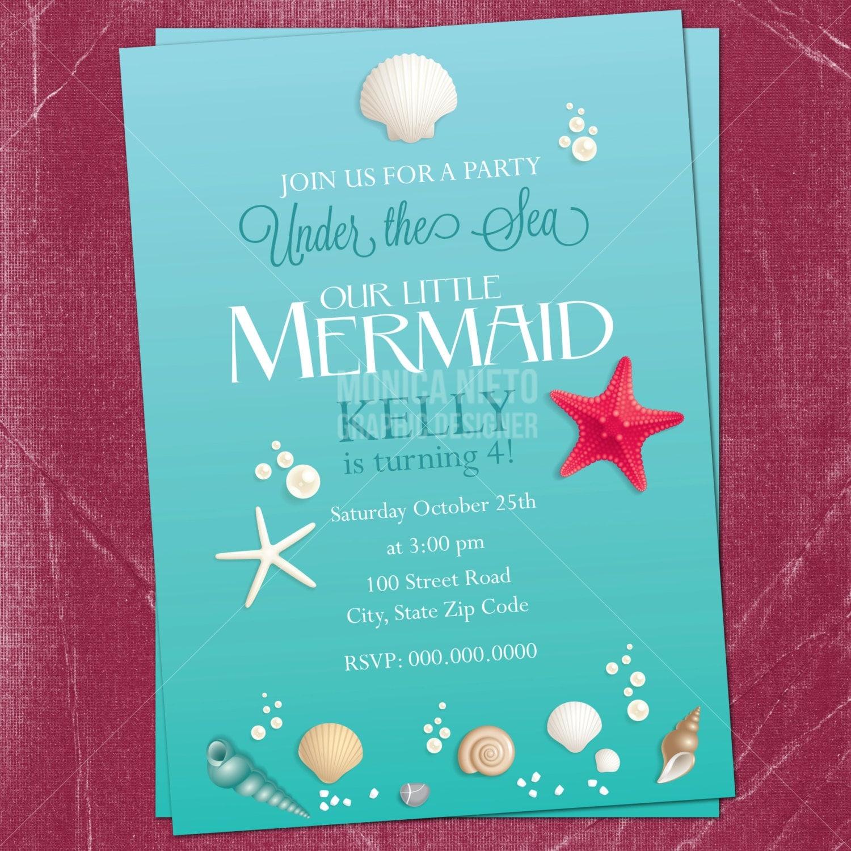 Printable Little Mermaid Birthday Invitation Under the Sea