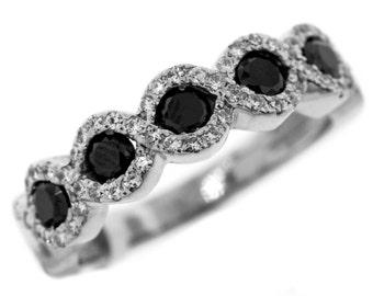 Elegant 1.25ct Round White & Black DIAMOND Wedding Band 14k White GOLD Ring