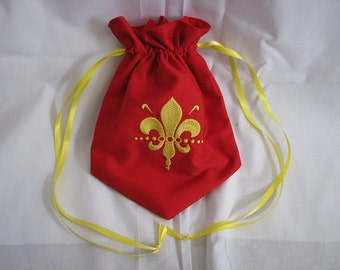 Medieval Renaissance Flur De Lis Fairy Pirate Elven Embroidered Drawstring Pouch Purse Dice Bag