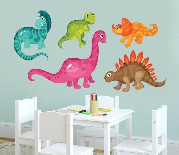 5 fun dinos wall decals dinosaurs theme children by kiddywalls for Dinosaur wall decals for kids rooms