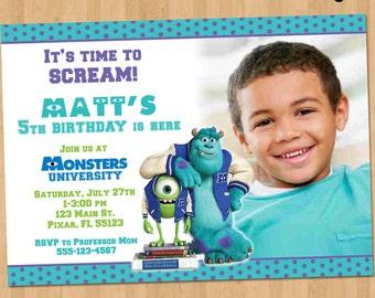 Monsters University Invitation - Monsters University Birthday Invite - Monsters University Party Printable - Monsters Inc Invitation Ideas