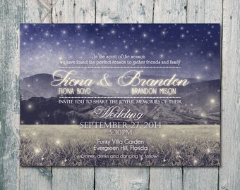 Digital - Printable Files - Twinkling Night Wedding Invitation and Reply Card Set - Wedding Stationery - ID408