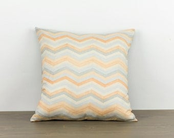"Pillow cover--16""x16""--peach, grey, chevron, modern, handmade, accent pillow, throw pillow"