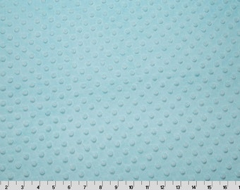 Aqua Blue Dimple Dot Cuddle Minky Fabric BY THE YARD, Highest Quality Korean Minkee, Embossed Texture 3mm Pile, Minkee Plush, Blankets